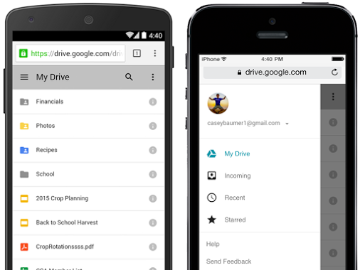 Verbesserte mobile Web-Version des Google Drives