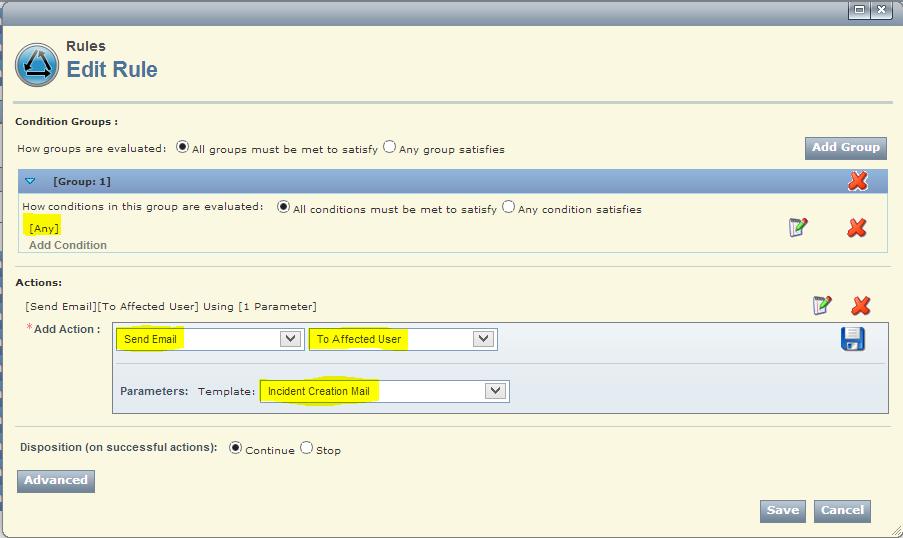 Email senden bei Incident Erstellung