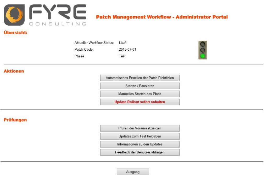 Admin Portal des Patch Management Workflow